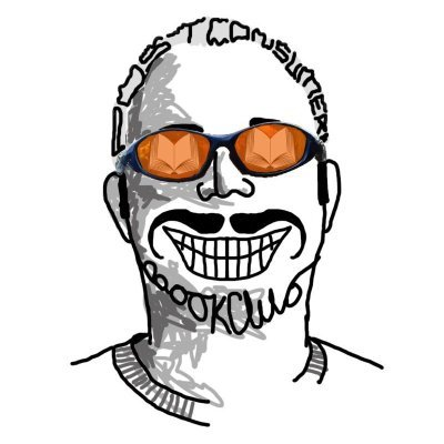 """A cartoon image of a smiley man with sunglasses on. His hair and beard spell out """"post consumer book club"""""""